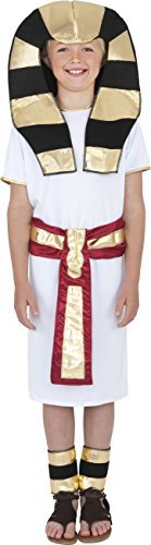 Egyptian Costume, White, with Robe, Belt, Headpiece & Anklets -  (Size: Medium Age 7-9)