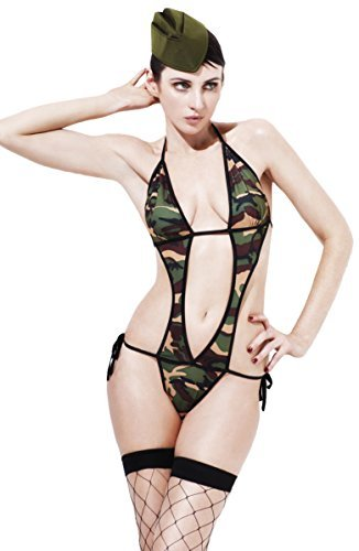 Fever Army, Commando, Camouflage, Bodysuit and Hat -  (Size: UK Dress 8-10)