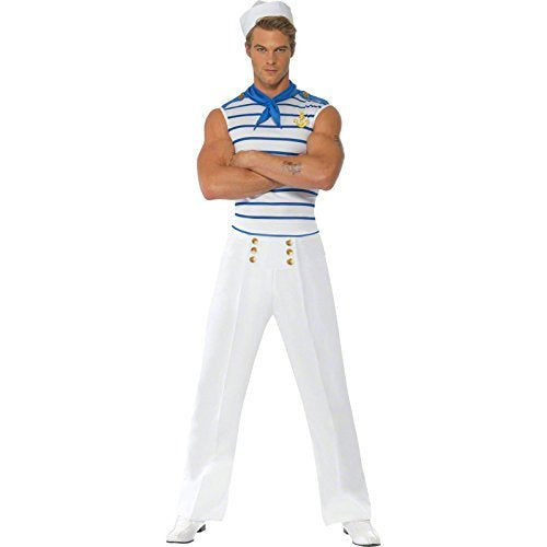 "Fever Male French Sailor Costume, White, with Top, Trousers and Neck Scarf -  (Size: Chest 38""-40"", Leg Inseam 32.75"")"
