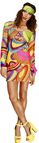 Fever 70s Flower Power Costume, Multi-Coloured, with Dress and Head Scarf -  (Size: UK Dress 12-14)