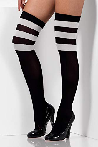 `Cheerleader Opaque Hold Ups, Black, with White Stripes -  (Size: UK Dress Size 6-14)`