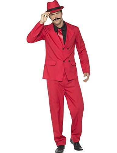 "Zoot Suit, Red, with Jacket, Trousers, Hat, Mock Shirt & Tie -  (Size: Chest 38""-40"", Leg Inseam 32.75"")"