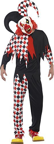 "Crazed Jester Costume, Black & Red, with Top, Trousers, Latex Mask & Attached Hat -  (Size: Chest 38""-40"", Leg Inseam 32.75"")"