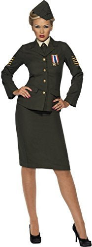 Wartime Officer Costume, Green, Skirt, Jacket with Medal, Shirt Front, Tie, Hat -  (Size: UK Dress 16-18)