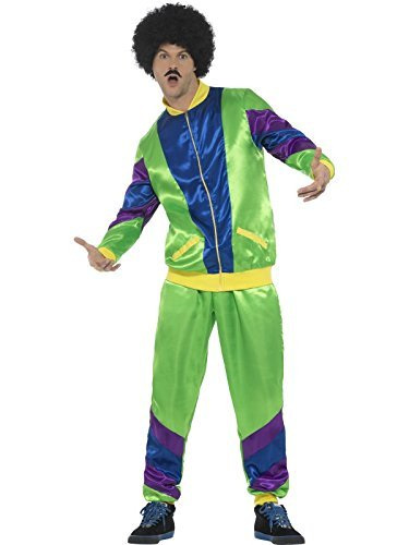 80s Height of Fashion Shell Suit Costume, Male, Green, with Jacket & Trousers -  (Size: UK Dress 16-18)