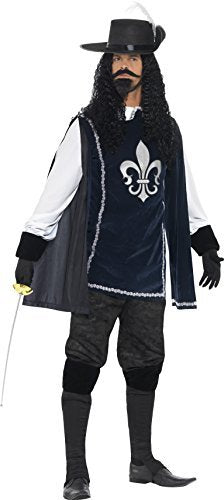 "Musketeer Male Costume, Navy, with Top, Hat, Trousers, Gloves, Boot Covers, Beard & Tash -  (Size: Chest 42""-44"", Leg Inseam 33"")"
