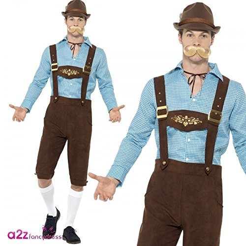 Beer Fest Costume, Blue & Brown, with Shirt & Mock Suede Lederhosen -  (Size: Chest 42`-44`, Leg Inseam 33`)