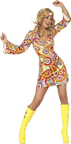 1960s Hippy Costume, Multi-Coloured, with Dress and Headband -  (Size: UK Dress 16-18)