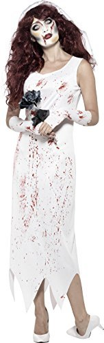 Zombie Bride Costume, White, with Dress, Gloves & Veil -  (Size: UK Dress 12-14)