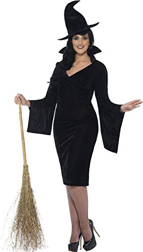 Curves Witch Costume, Black, with Dress & Hat -  (Size: UK Dress 28-30)
