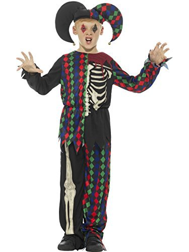 Skeleton Jester Costume, Multi-Coloured, with Top, Trousers & Hat -  (Size: Small Age 4-6)