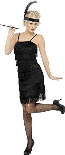 Fringe Flapper Costume, Black, Dress and Head Piece with Feather -  (Size: UK Dress 8-10)