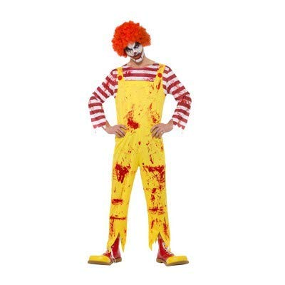 Kreepy Killer Clown Costume, Yellow & Red, with Jumpsuit -  (Size: Chest 42`-44`, Leg Inseam 33`)