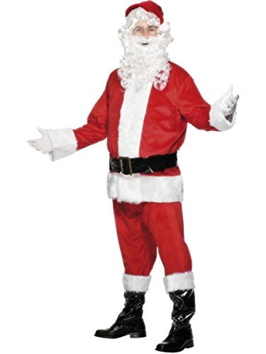 Deluxe Santa Costume, Red, Jacket, Trousers, Belt, Hat, Boot Covers & Beard -  (Size: Chest 46`-48`)