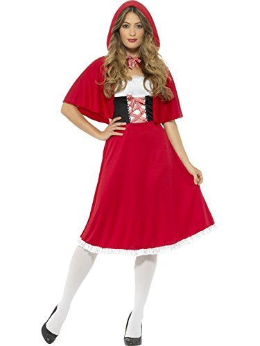 Red Riding Hood Costume, Red, with Longer Length Dress & Cape -  (Size: UK Dress 4-6)