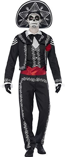 "- Day of the Dead Se?or Bones Costume, with Jacket, Trousers, Mock Shirt and Hat -  (Size: Chest 38""-40"", Leg Inseam 32.75"") COST-M"