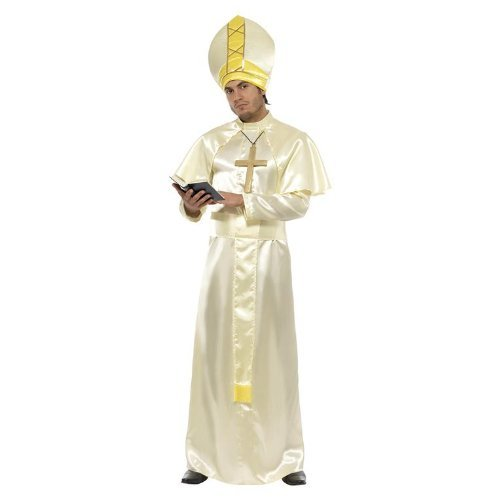 "Pope Costume, Cream, Robe, Sash, Hat, Necklace and Cape -  (Size: Chest 38""-40"", Leg Inseam 32.75"")"