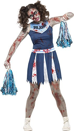 Zombie Cheerleader Costume, Blue, with Dress & Pom Poms -  (Size: Teen S)