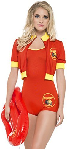 Baywatch Lifeguard Costume, Red, with All-In-One Bodysuit, Jacket & Float -  (Size: UK Dress 12-14)
