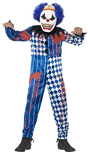 Deluxe Sinister Clown Costume, Blue, with Jumpsuit, EVA Mask, Attached Brain & Hair -  (Size: Tween 12+)