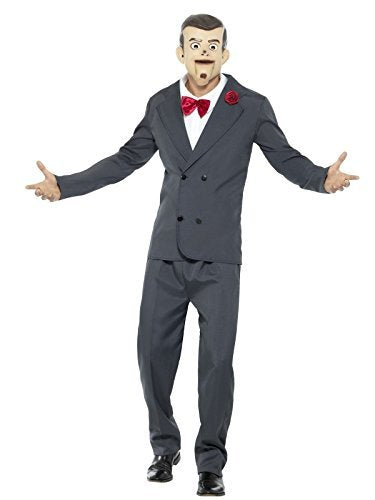 "Goosebumps Slappy the Dummy Costume, Grey, with Jacket, Trousers, Mask, Mock Shirt & Bow Tie -  (Size: Chest 38""-40"", Leg Inseam 32.75"")"
