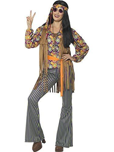 60s Singer Costume, Female, Multi-Coloured, Top, Waiscoat, Trousers, Belt & Headband -  (Size: UK Dress 8-10)