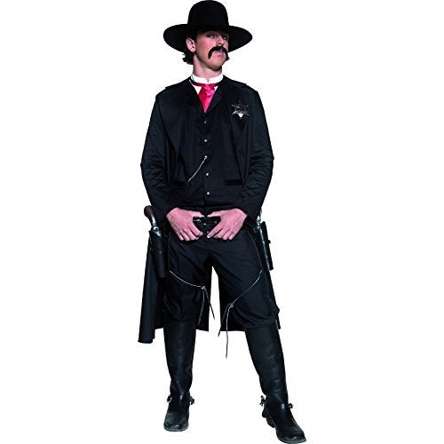 "Authentic Western Sheriff Costume, Black, with Jacket, Top, Dicky Bow and Badge -  (Size: Chest 38""-40"", Leg Inseam 32.75"")"