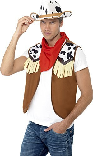 Instant Kit Wild West Male, Brown, with Waistcoat, Neck Scarf and Hat