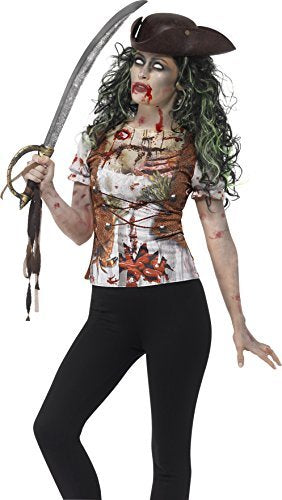 Zombie Pirate Wench T-Shirt, Green, with Sublimation Print -  (Size: UK Dress 12-14)