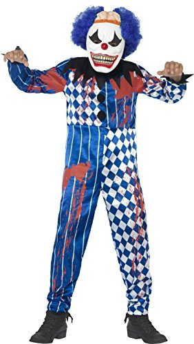Deluxe Sinister Clown Costume, Blue, with Jumpsuit, EVA Mask, Attached Brain & Hair -  (Size: Medium Age 7-9)