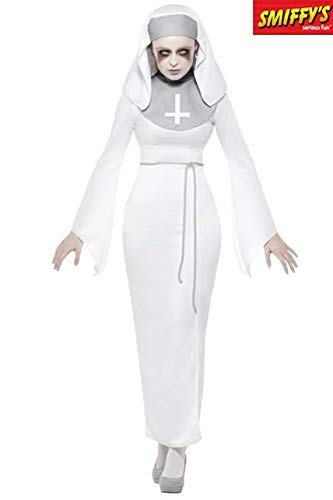 Haunted Asylum Nun Costume, White, with Dress, Belt & Headpiece -  (Size: UK Dress 16-18)