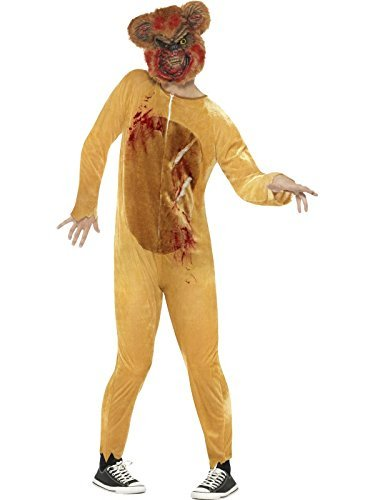 Deluxe Zombie Teddy Bear Costume, Brown, with Bodysuit & EVA Mask -  (Size: Chest 38`-40`, Leg Inseam 32.75`)