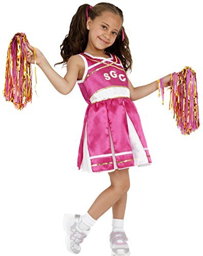 Cheerleader Costume, Child, Pink, with Dress & Pom Poms -  (Size: Medium Age 7-9)