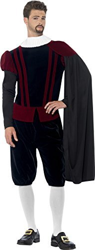 "Tudor Lord Deluxe Costume, Black, with Top, Trousers, Cape & Neck Ruffle -  (Size: Chest 42""-44"", Leg Inseam 33"")"