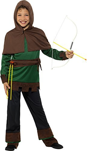 Robin Hood Costume, Green & Brown, with Top, Capelet, Trousers & Attached Boot Covers -  (Size: Medium Age 7-9)