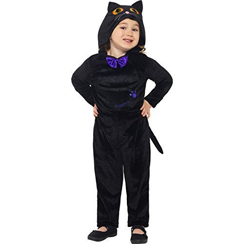 Cat Toddler Costume, Black, with Hooded Jumpsuit & 3D Printed Eyes -  (Size: Toddler Age 1-2)