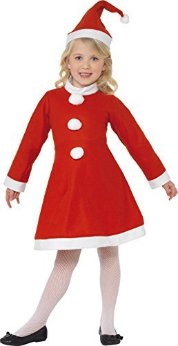 Santa Girl Costume, Red, with Dress & Hat -  (Size: Large Age 10-12)