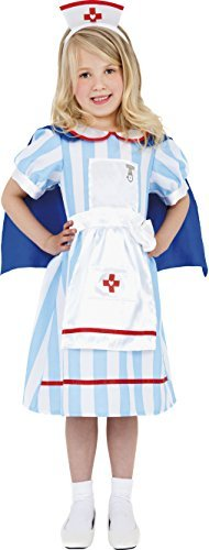 Vintage Nurse Costume, Blue, Dress with Cape &  Hat -  (Size: Small Age 4-6)