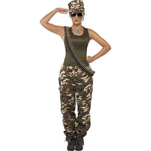 Khaki Camo Deluxe Costume, Female, Khaki Green, includes Vest and Trousers -  (Size: UK Dress 8-10)