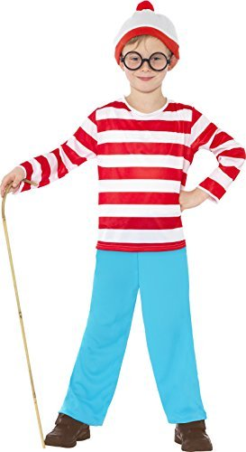 Where's Wally? Costume, Red & White, with Top, Trousers, Glasses & Hat -  (Size: Medium Age 7-9)