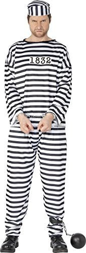 "Convict Costume, Black & White, with Shirt, Trousers & Hat -  (Size: Chest 46""-48"")"