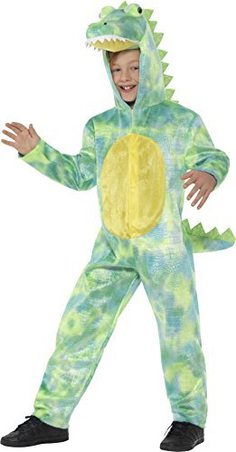 Deluxe Dinosaur Costume, Green, with Hooded Bodysuit -  (Size: Large Age 10-12)