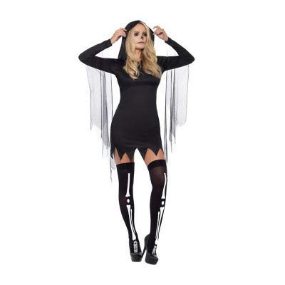 Fever Sexy Reaper Costume, Black, with Short Hooded Dress -  (Size: UK Dress 4-6)