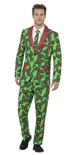 Holly Berry Suit, Red & Green, with Jacket, Trousers & Tie -  (Size: Chest 46`-48`)