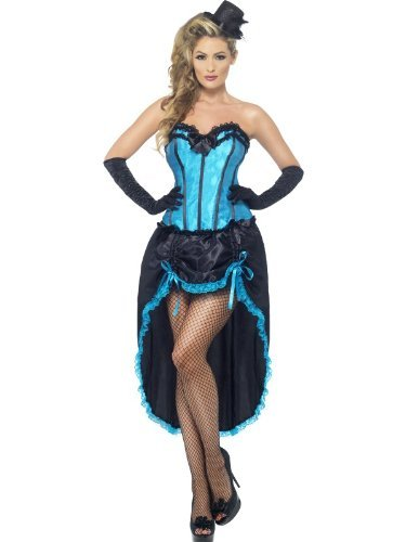 Burlesque Dancer Costume, Blue, with Corset and Adjustable Skirt -  (Size: UK Dress 12-14)