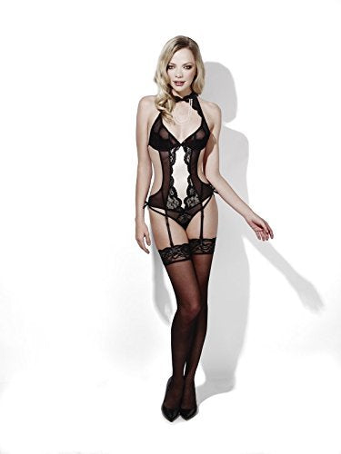 Fever Burlesque, Dream, Black, Crotchless Bodysuit with Pearl Detail & Suspenders -  (Size: UK Dress 16-18)