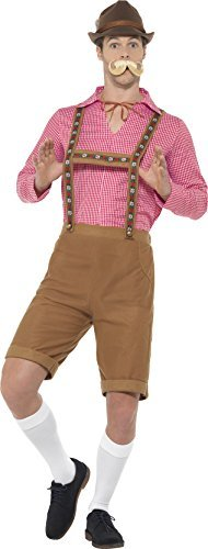 Mr Bavarian Costume, Red & Brown, with Shirt & Lederhosen -  (Size: Chest 46`-48` / Waist 40`-42` / Leg Inseam 33.25`)