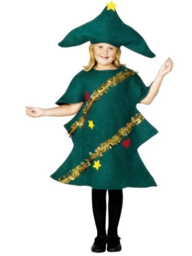 Christmas Tree Costume, Green, with Tunic & Hat -  (Size: Medium Age 7-9)