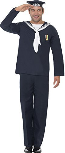 "Naval Seaman, Blue, Includes Hat, Top and Trousers -  (Size: Chest 38""-40"", Leg Inseam 32.75"")"