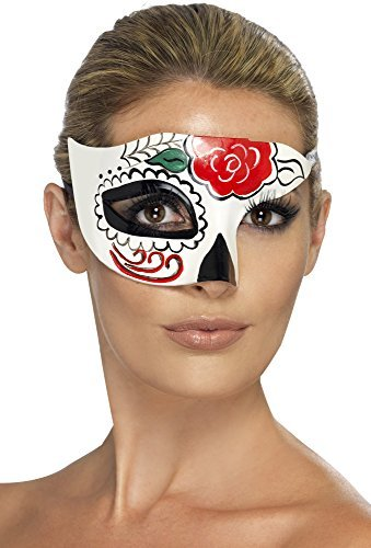 Day of the Dead Half Eye Mask, White